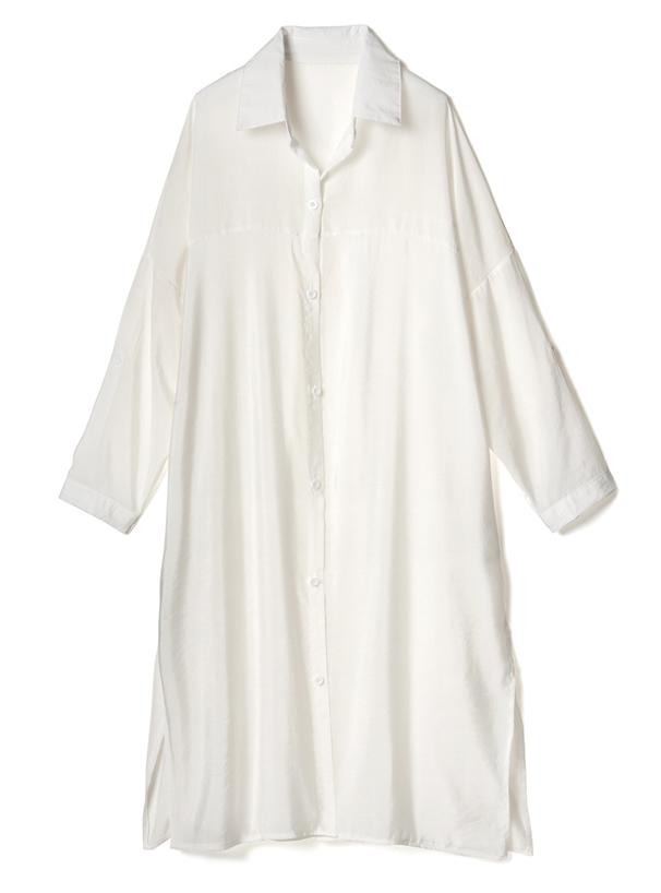 サイドスリットロングシャツ