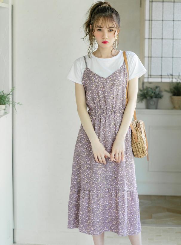 Tシャツ付き花柄キャミソールワンピース