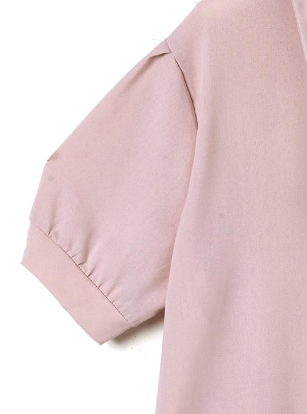 ネックリボン付き胸ポケットブラウス