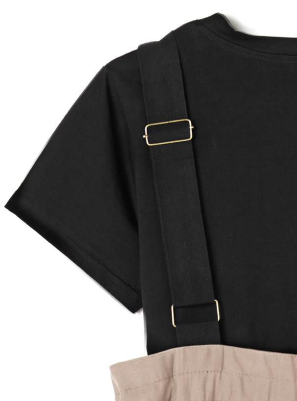 Tシャツ×ワイドサロペットパンツ2点セットアップ