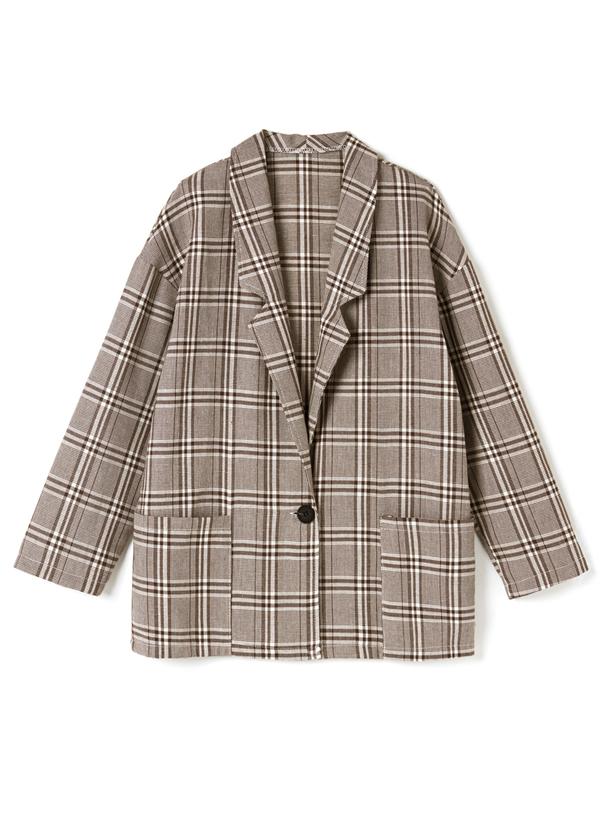 グレンチェックポケット付きジャケットXパンツセットアップ