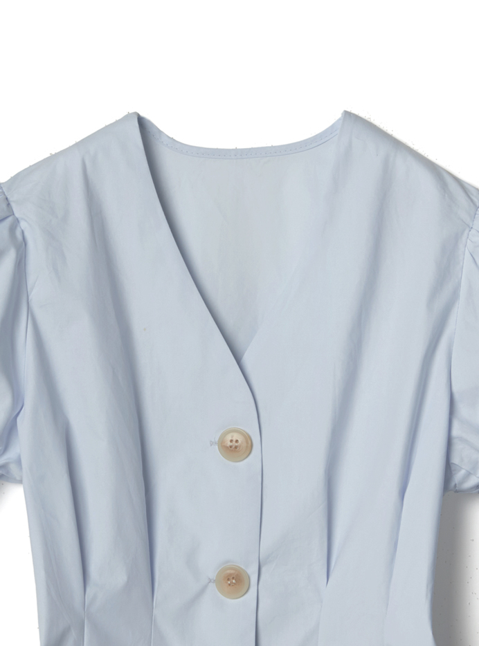 袖リボン付きフロントボタンブラウス