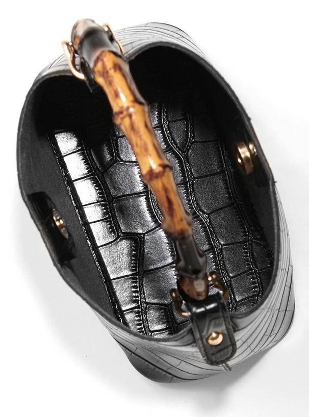 2Wayクロコダイル柄ポーチ付きバンブーハンドルバッグ