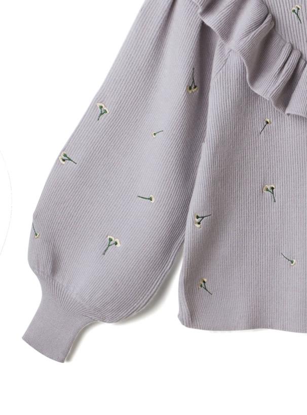 花柄刺繍フリルニットトップス