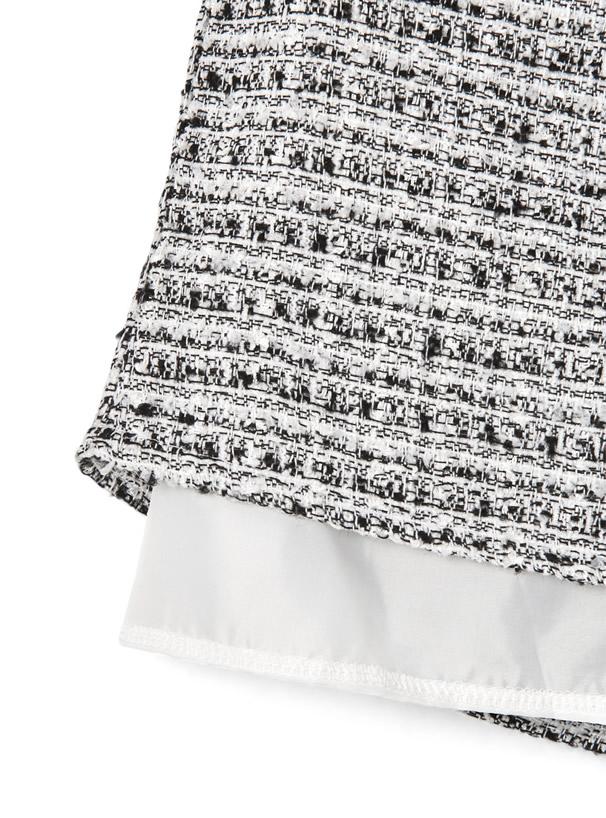 インパン裏地付きツイードミニスカート
