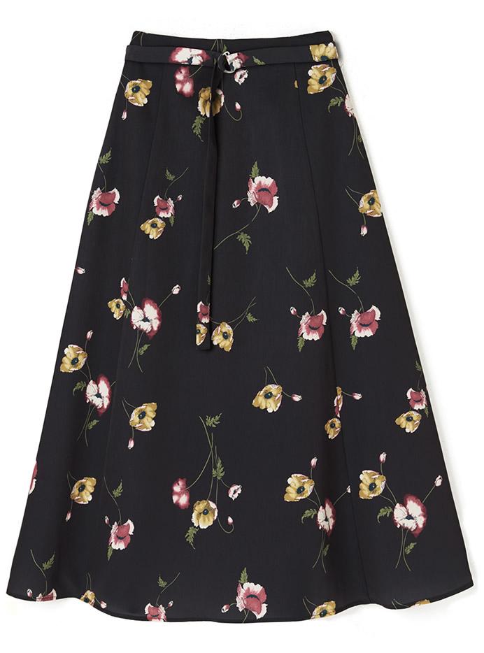 今田美桜 ベルト付き花柄フレアロングスカート