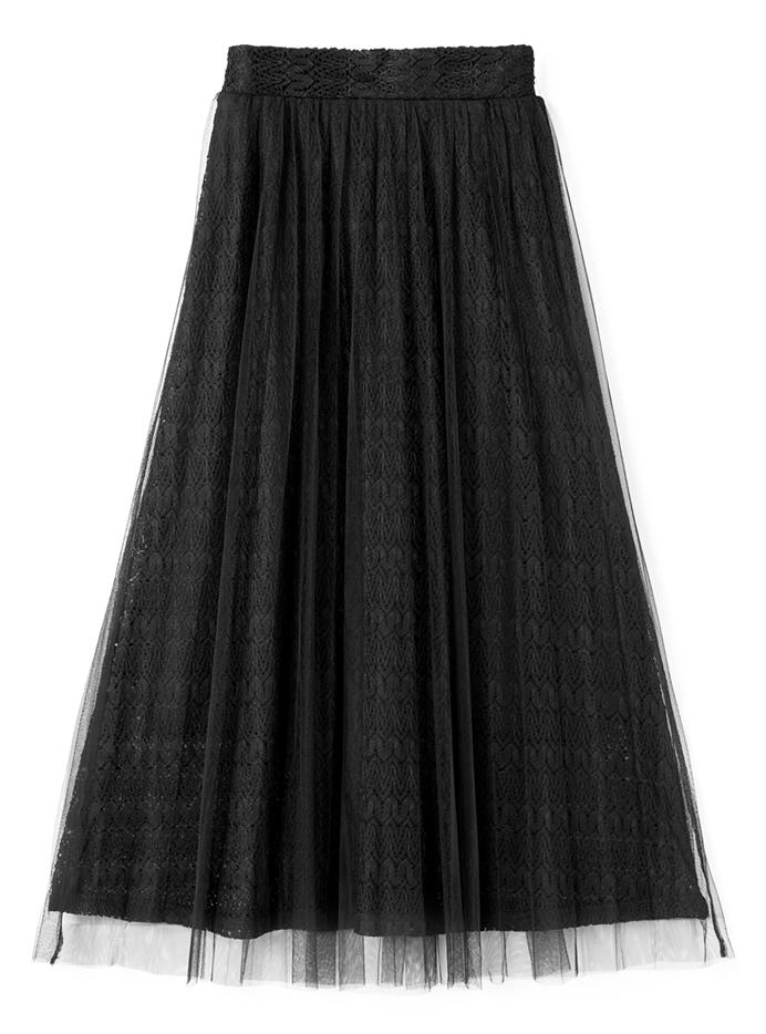 レースXチュールロングスカート