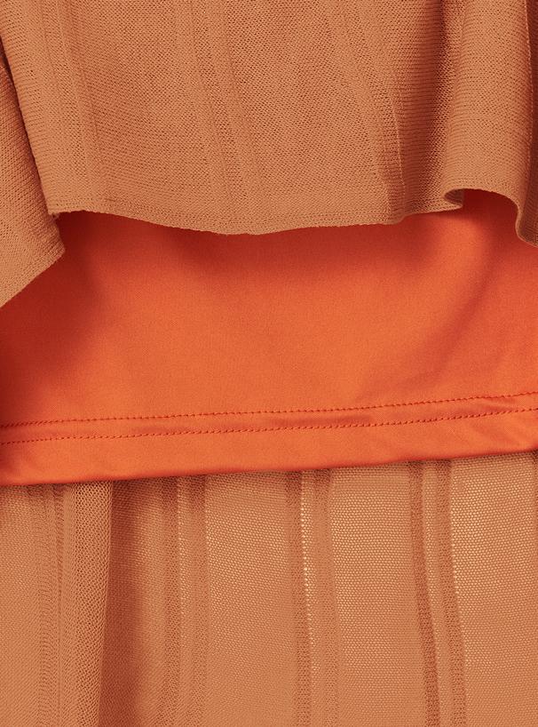 リボンベルト付シアーニットプリーツスカート