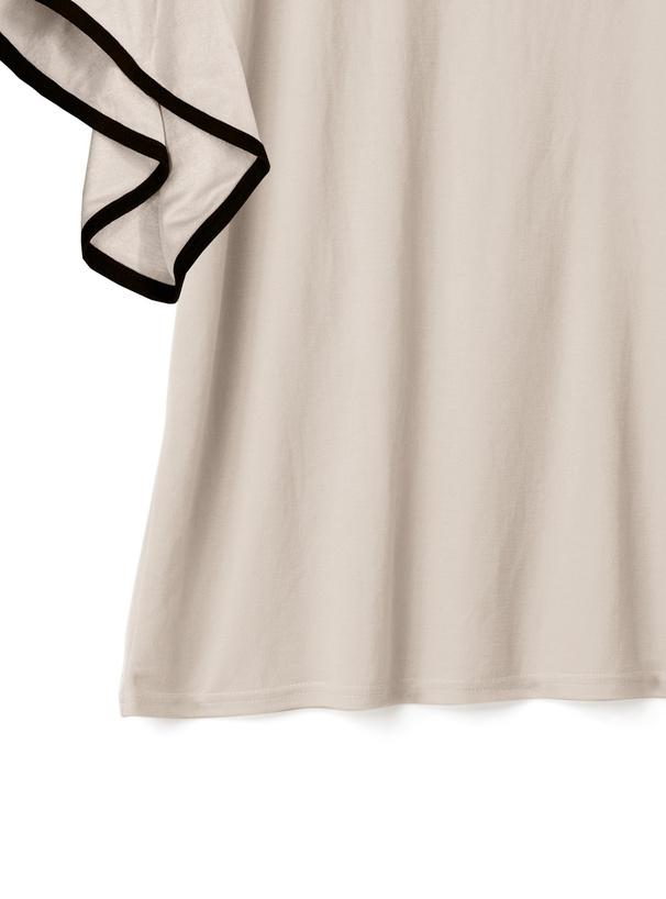 バイカラーフリル袖パイピングTシャツ