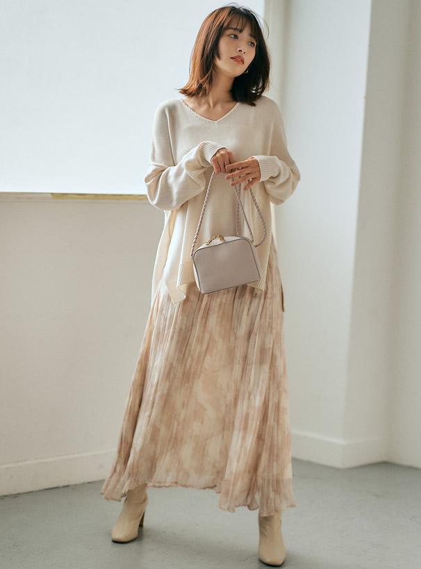 モザイク柄シアープリーツスカート
