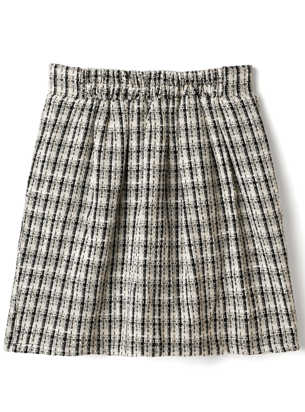 インパン裏地付きフリンジツイード台形ミニスカート