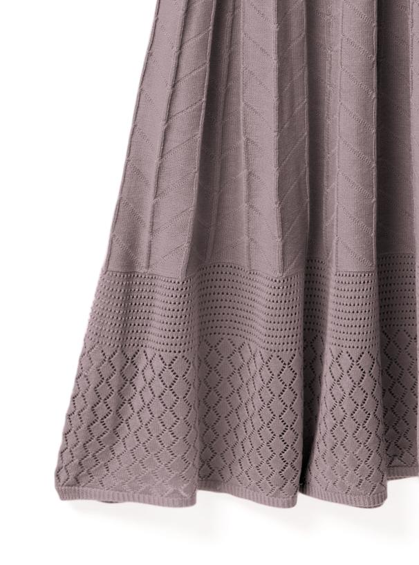 2WayリブニットX透かし編みフレアスカートセットアップ