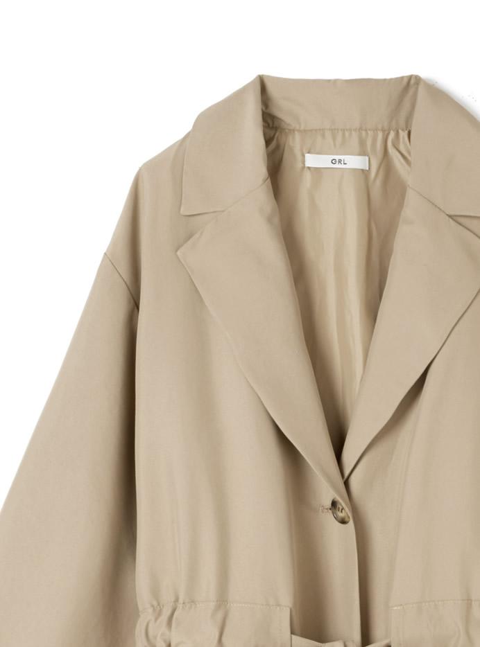 ウエストドロストリボンロングジャケットコート