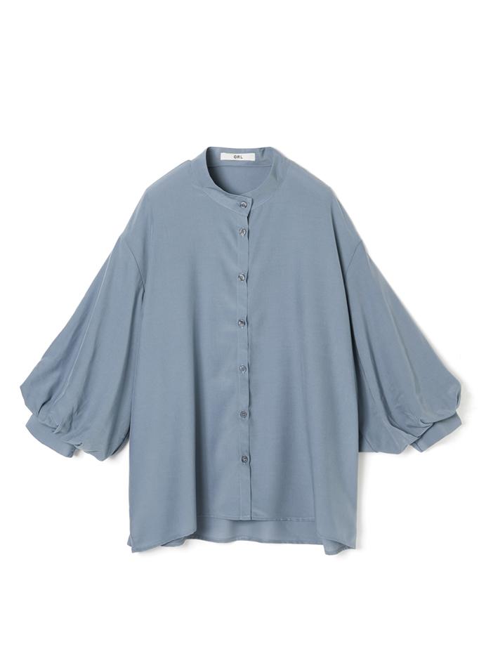 ボリュームスリーブバンドカラーシャツ