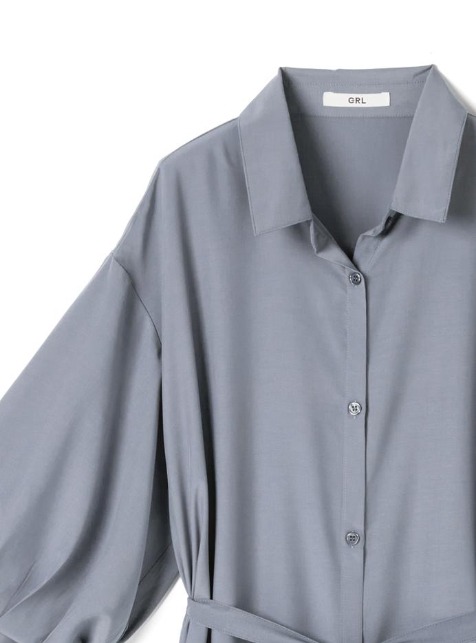 リボンベルト付きシャツワンピース