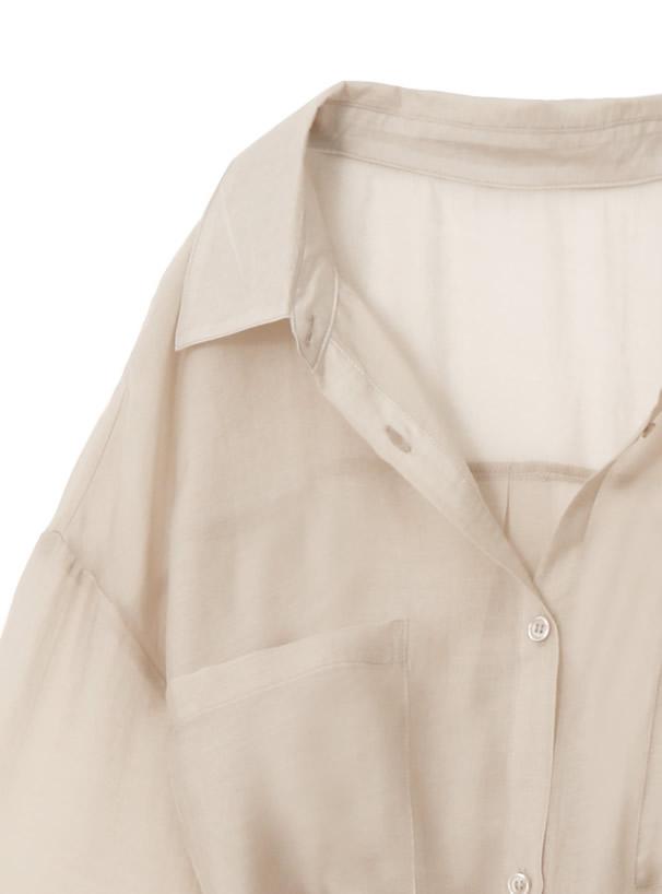 リボンベルト付きシアーロングシャツ