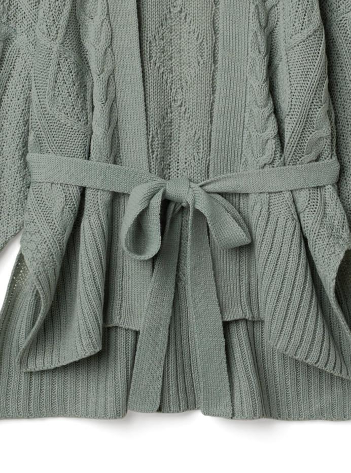 ウエストリボン付きケーブル編みカーディガン