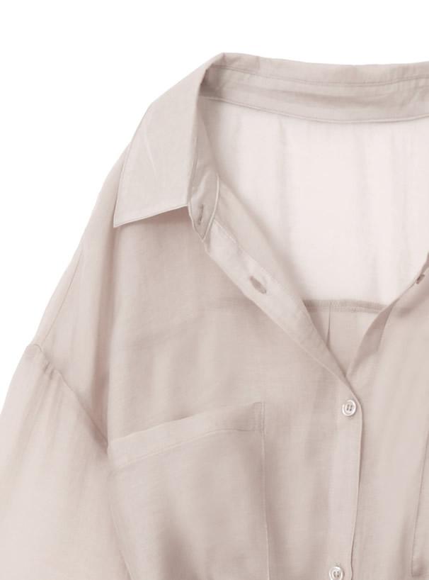 ベルト付きシアーロングシャツ
