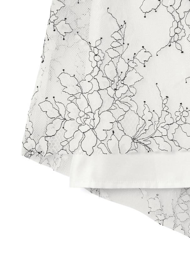 フラワーレースギャザースカート