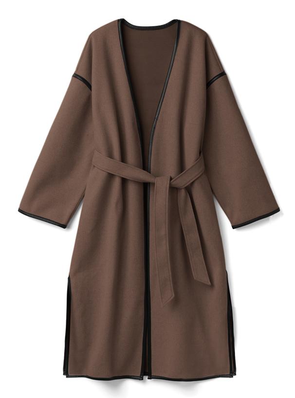 リボンベルト付きパイピングノーカラーコート