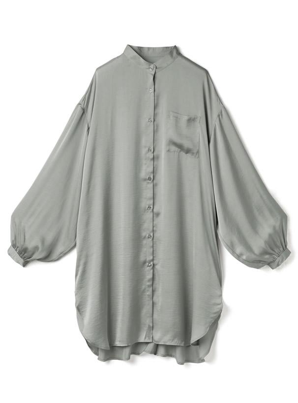 ヴィンテージサテンボリュームスリーブロングシャツ