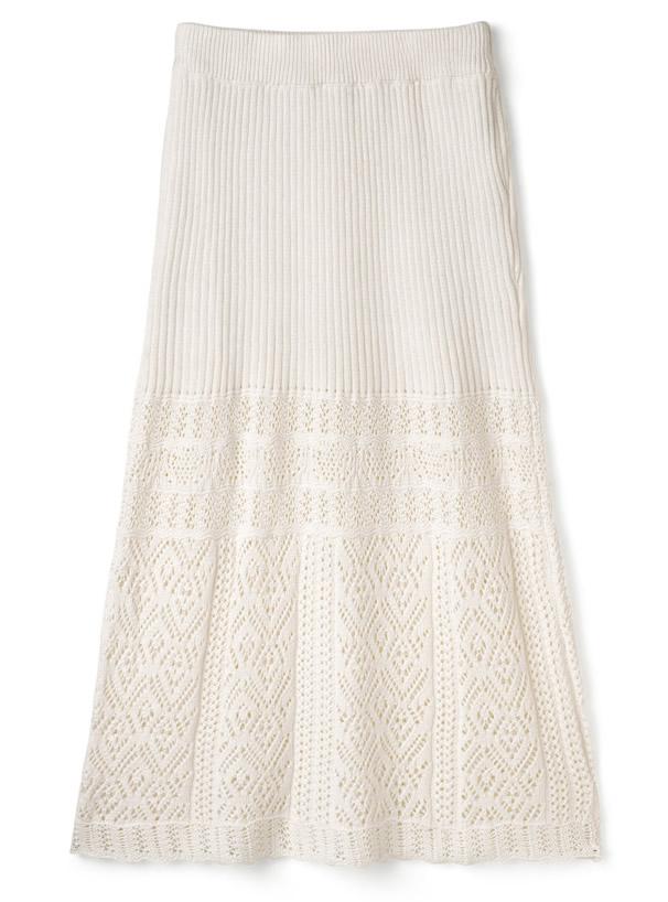 ぺチコート付き透かし編みニットスカート
