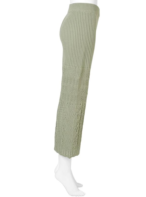 インパン付き透かし編みニットパンツ