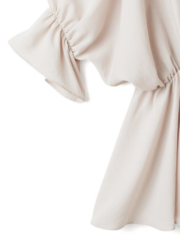 ドットチュール付け襟ペプラムブラウス