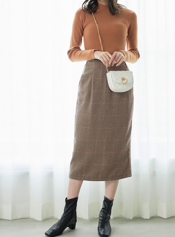 千鳥格子柄バックスリットタイトロングスカート