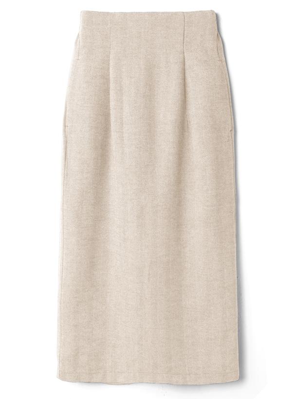 ヘリンボーンバックスリットタイトロングスカート