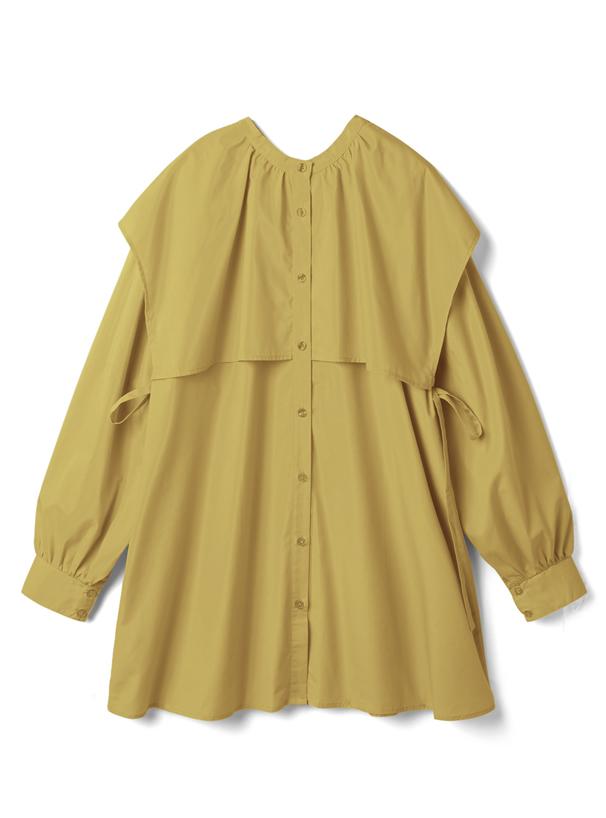 サイドリボンケープカラーシャツ