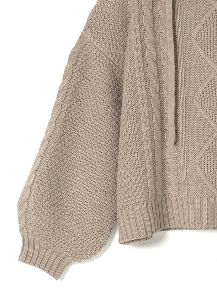 ケーブル編みフード付きセットアップ