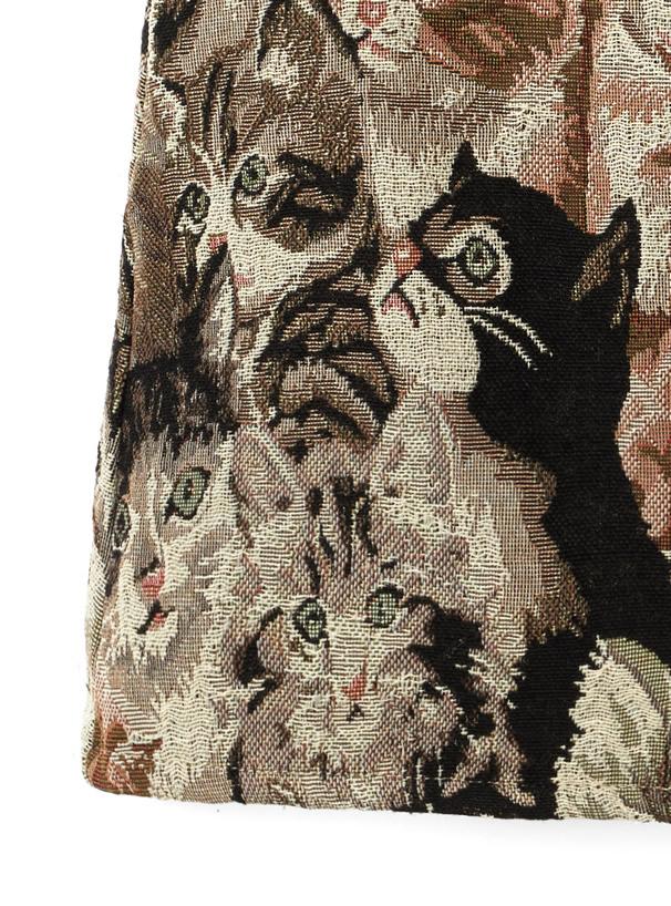 インパン付きゴブラン織ネコ柄フリルミニスカート