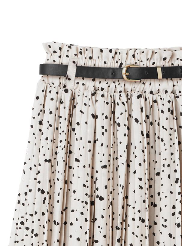 ベルト付きドット柄プリーツスカート
