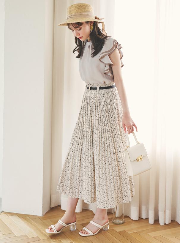 ベルト付き小花柄プリーツロングスカート