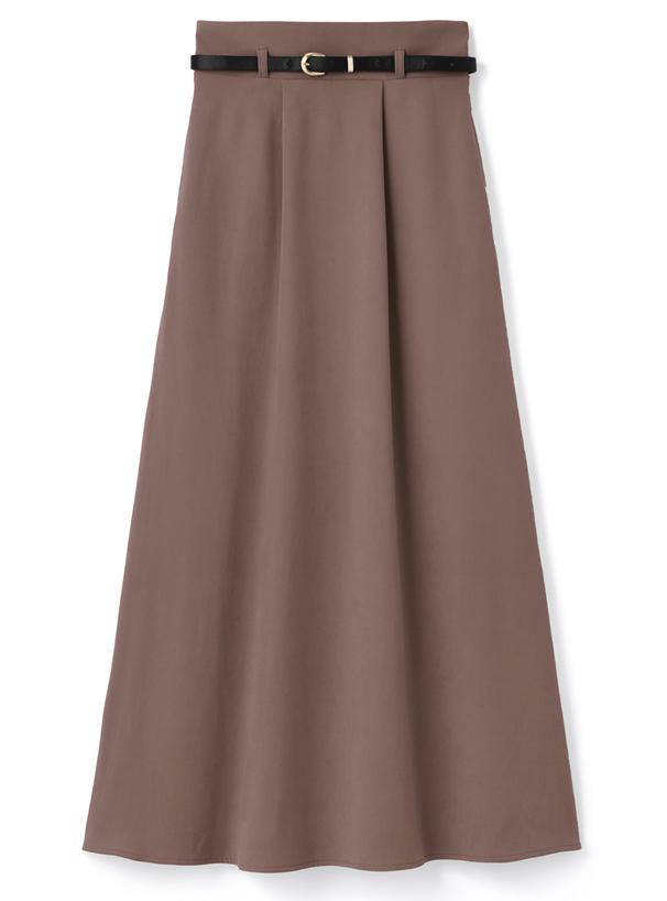 ベルト付きAラインスエードスカート