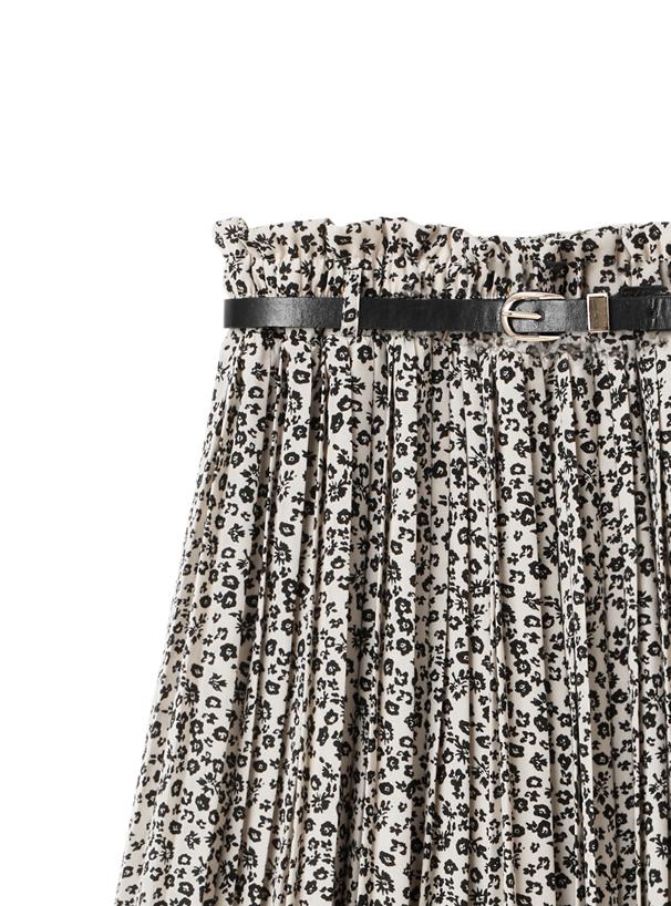 ベルト付き小花柄プリーツスカート