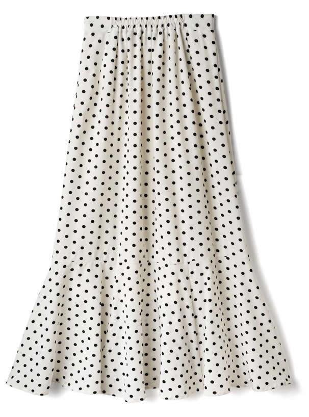 ドット柄マーメイドスカート