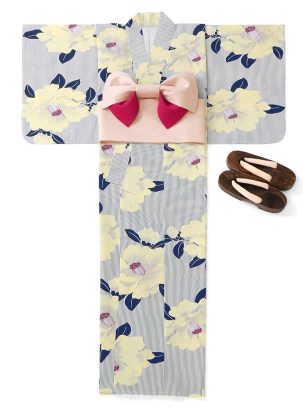 4点セットストライプ椿浴衣