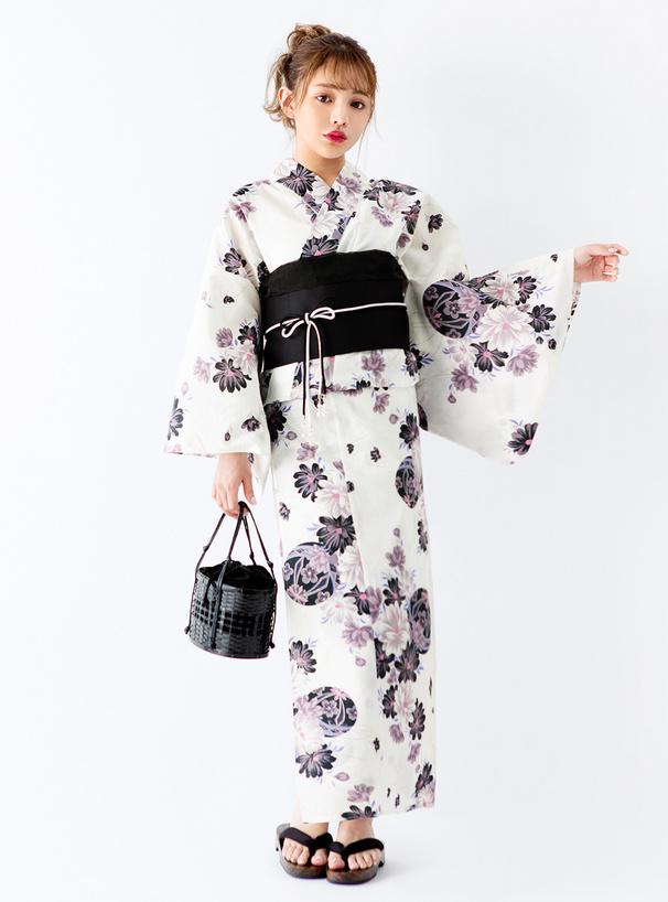 4点セットラメ入り菊花×鞠浴衣