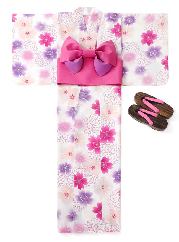 4点セットぼかし八重桜柄浴衣