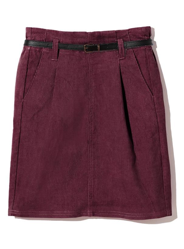 ベルト付きコーデュロイタイトスカート