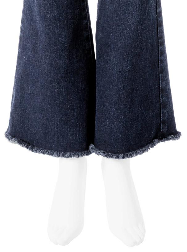 裾フリンジフレアデニムパンツ