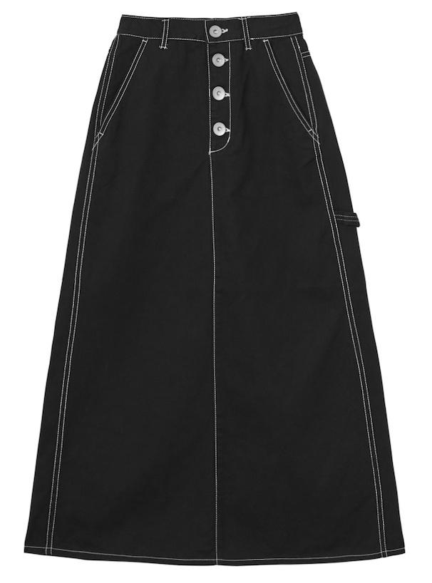 配色ステッチチノツイルセミフレアスカート