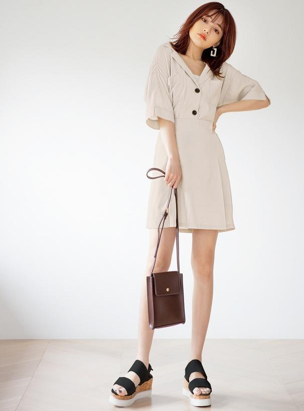 オープンカラーシャツXスカートセットアップ