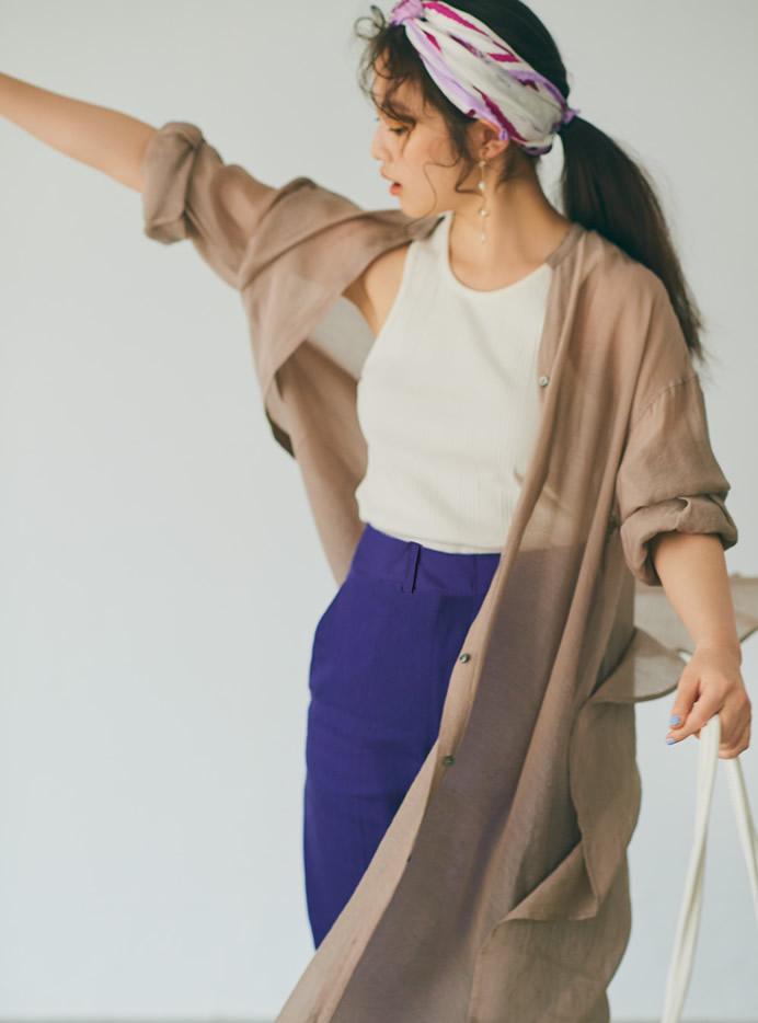 今田美桜 リネンライクハイウエストストレートパンツ