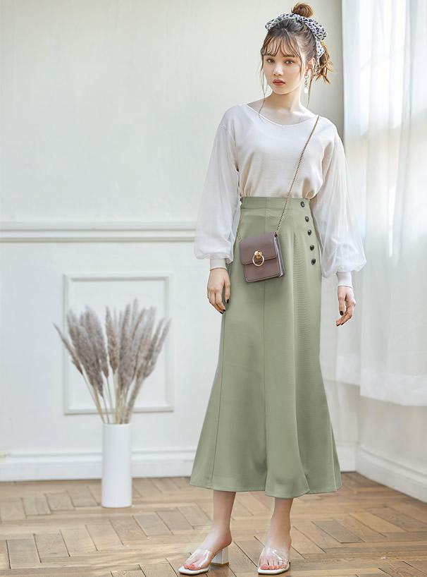 フロントスリットフレアスカート