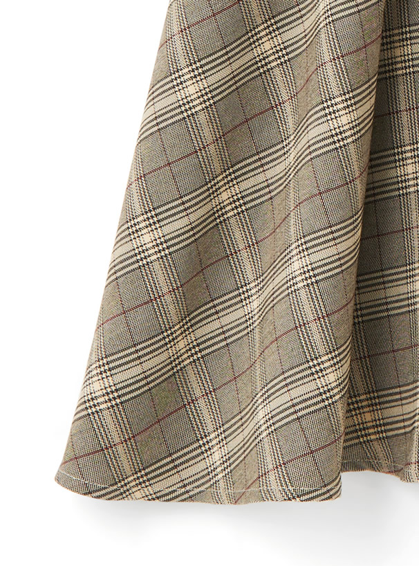 ベルト付きチェックフレアスカート