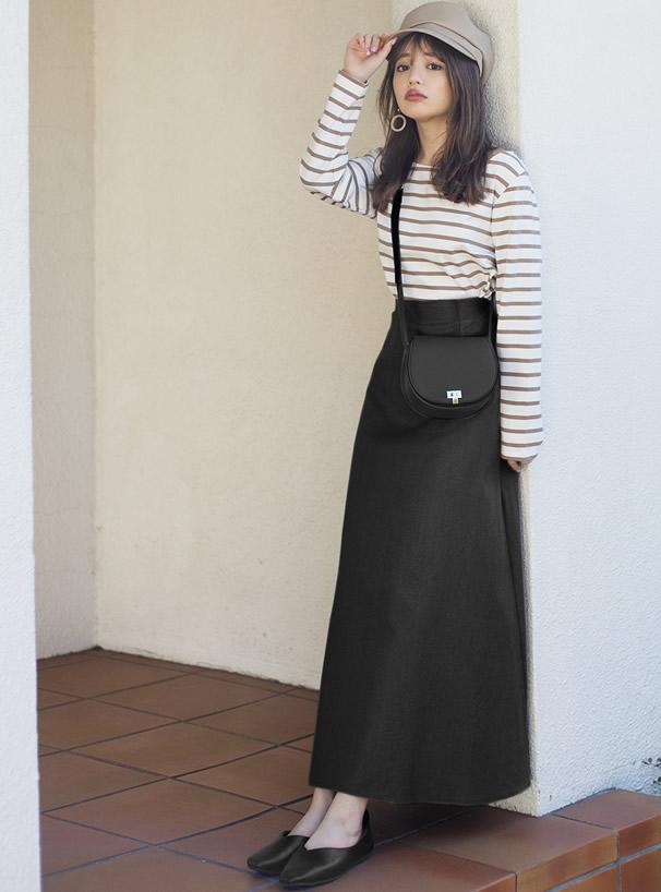 コットンリネン混フレアスカート