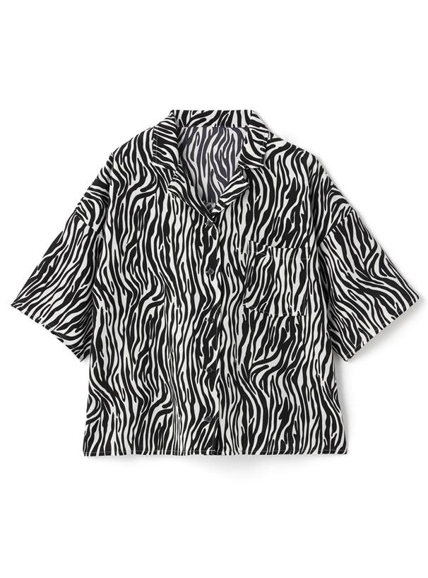 ゼブラ柄タックシャツ